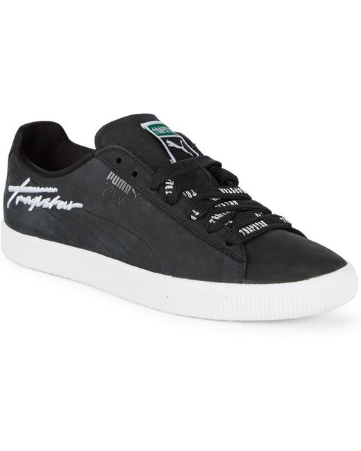 PUMA Men's Black Clyde Dressed Leather Sneakers