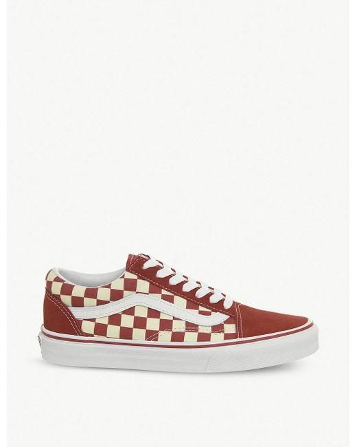 Vans Men's Red Checkerboard Old Skool