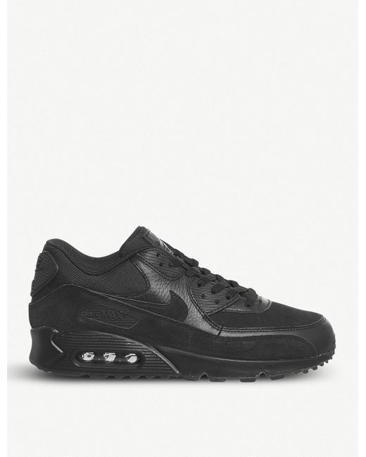 Nike Men's Gray Air Max 90 Leather And Mesh Trainers