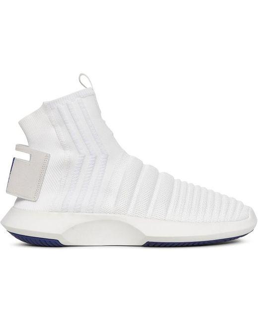 adidas Originals Men's White Crazy 1 Sock Adv Primeknit Sneakers