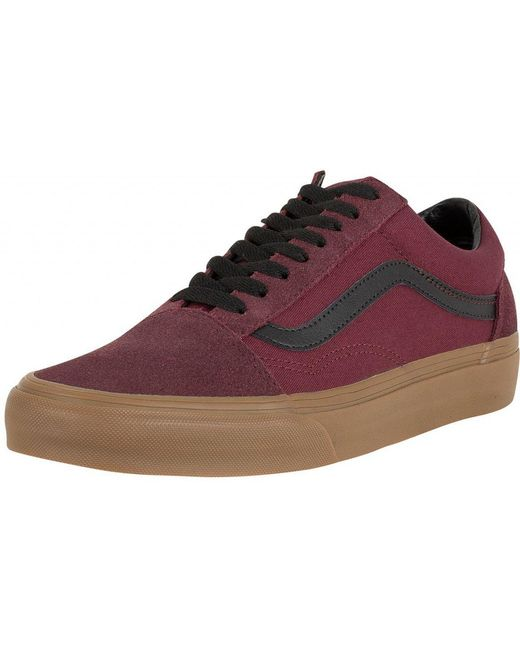 Vans Men's Red Catawba Grape Authentic Gum Outsole Trainers
