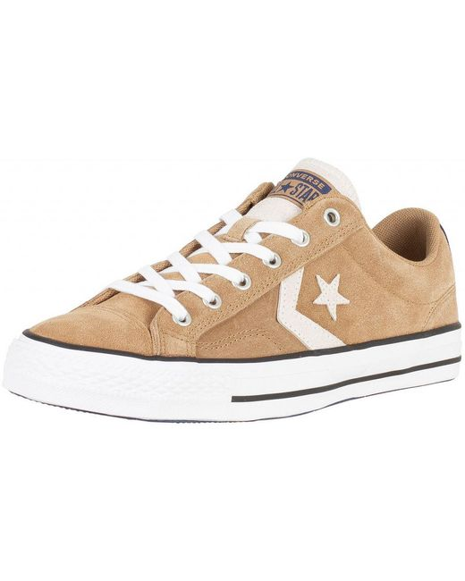 Converse Men's Gray Cool Grey/white Star Player Ox Suede Trainers