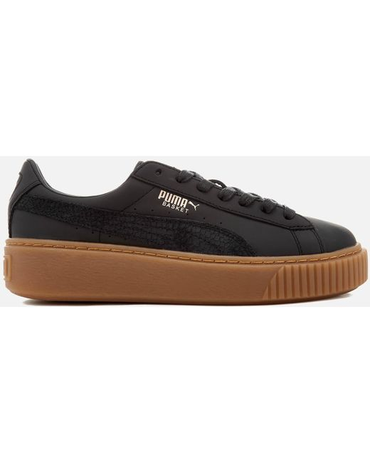PUMA Men's Black Basket Platform Euphoria Gum Trainers