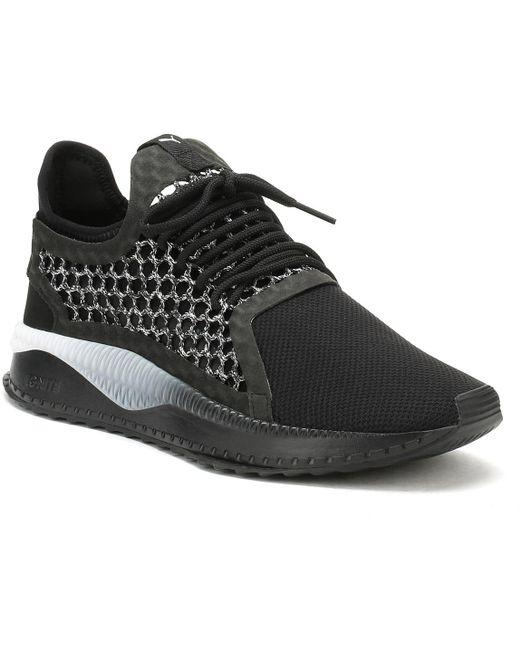 PUMA Men's Black Basket Leather Platform Trainers