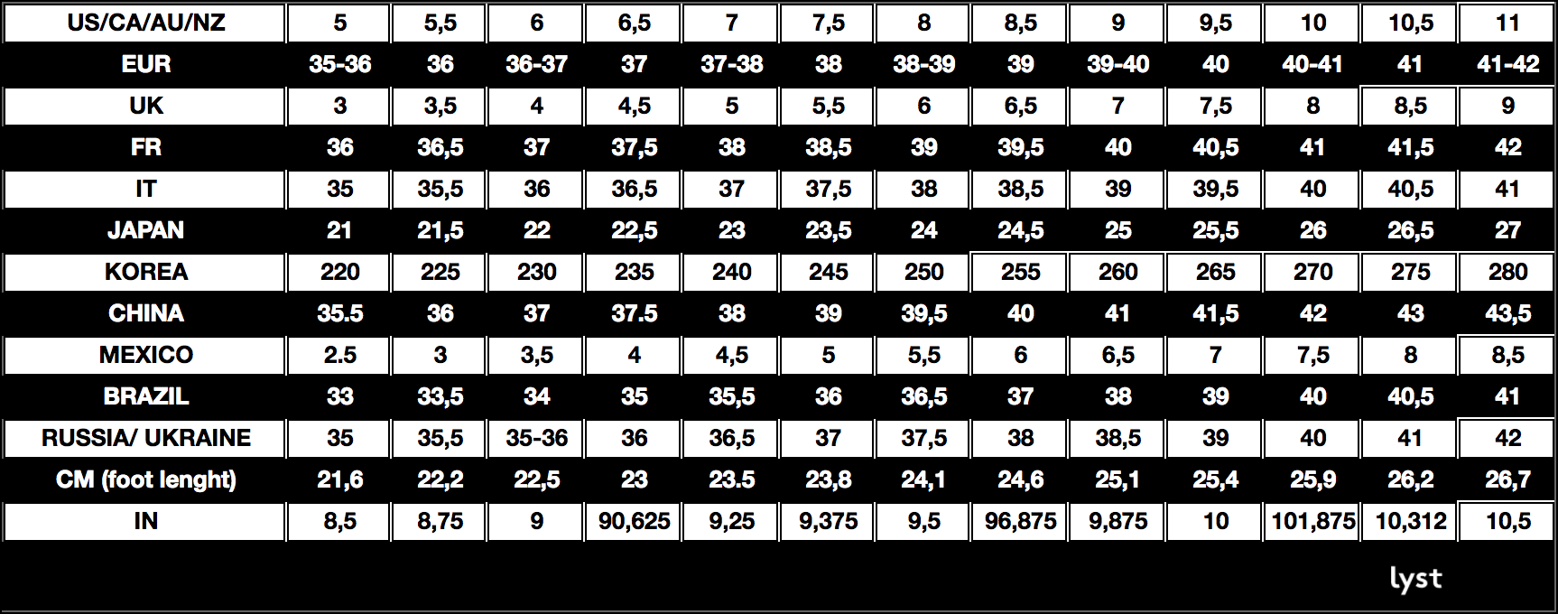 Lyst Shoe Size Conversion Chart
