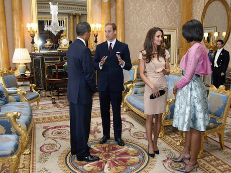 Duchess of Cambridge with Mr and Mrs Obama