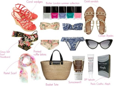 Sunscreen, cat eye sunglasses, a chic ruffled bikini, a headband...