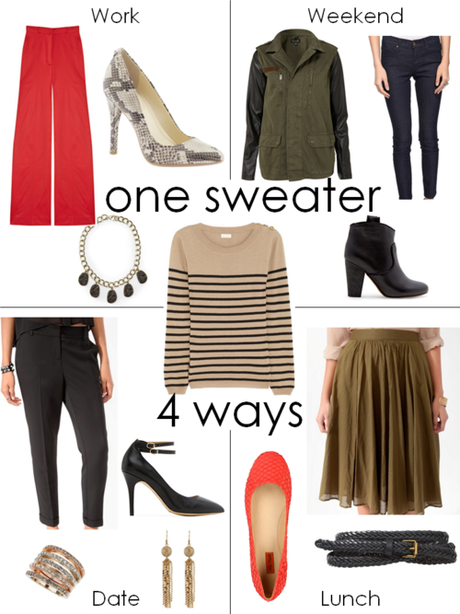 One Sweater. 4 Ways. A striped crew-neck sweater is a great...