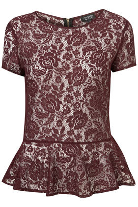 Look Of The Day The peplum burgundy lace top is clearly THE key...