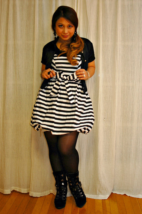 *favorite spring outfit ~ black & white striped dress*