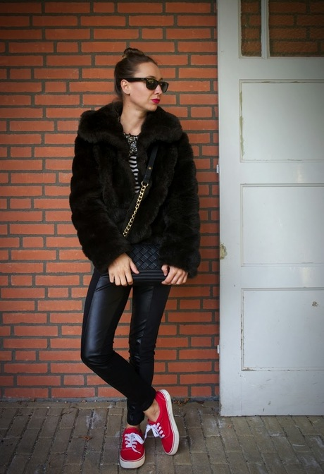 Fake fur diva on sneakers