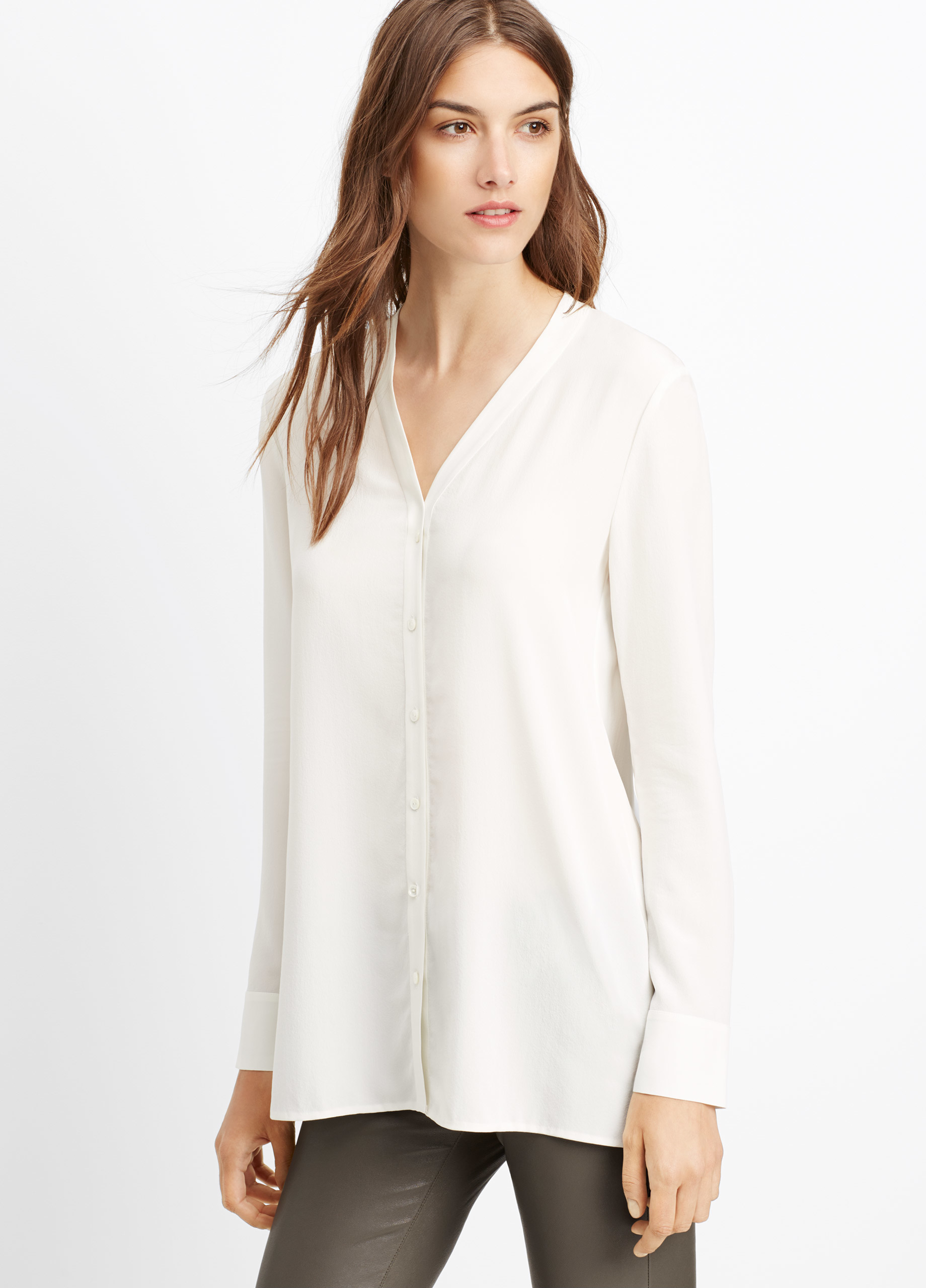88237f865c4e0 Lyst - Vince Silk Button-up Blouse in White