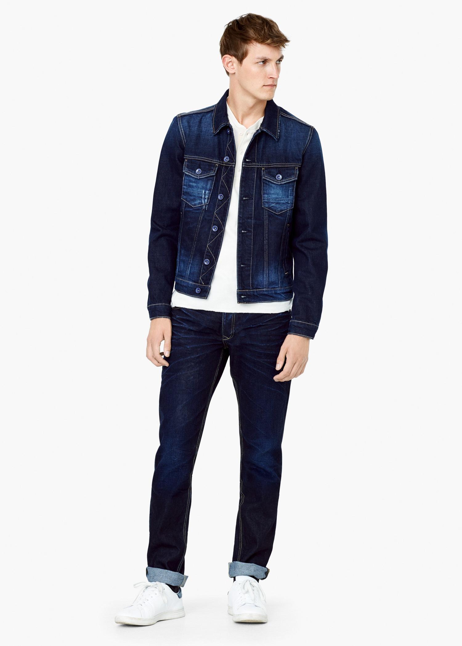 Lyst - Mango Dark Wash Denim Jacket in Blue for Men 2aa0401a5