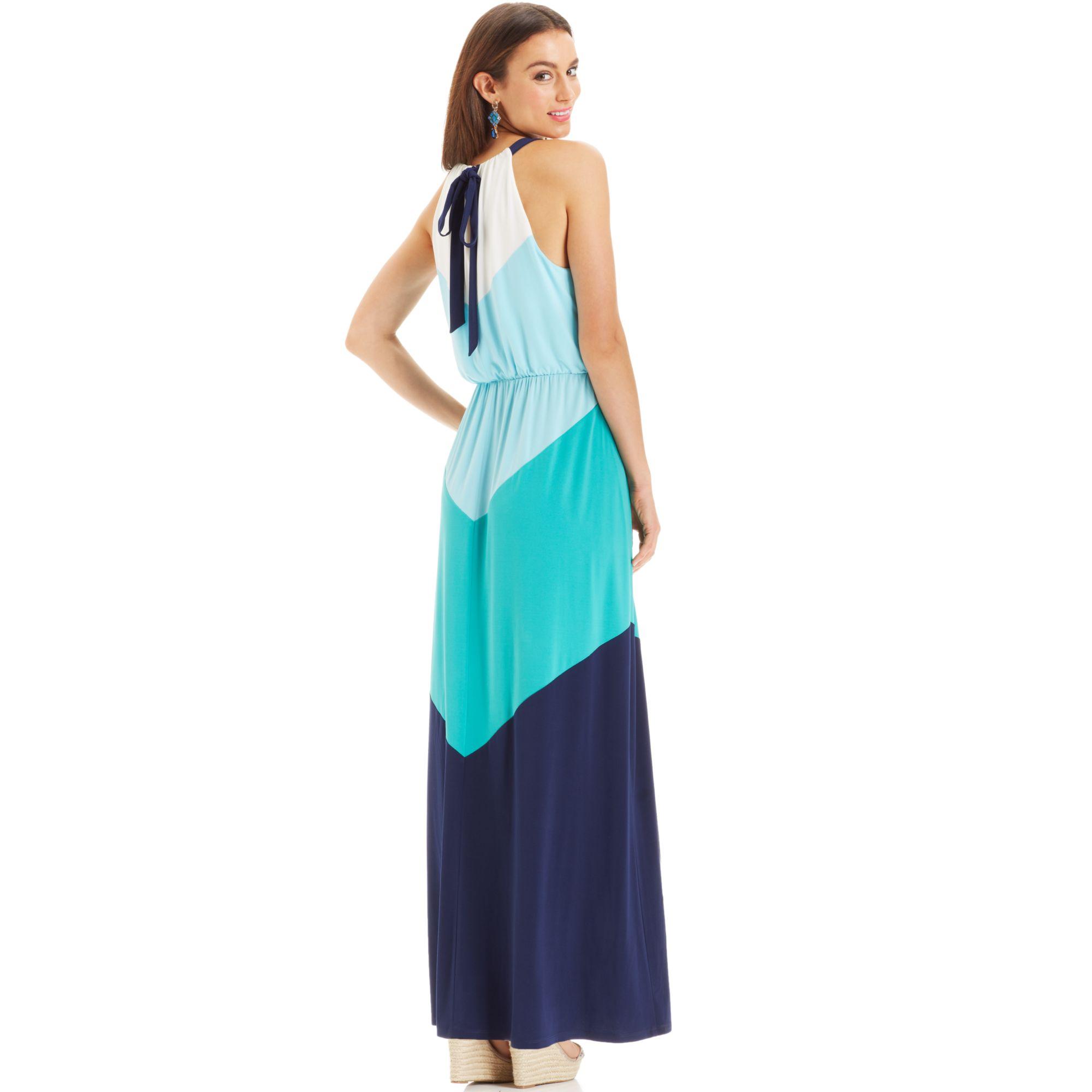 Lyst - Vince Camuto Colorblock Chevron Halter Maxi Dress