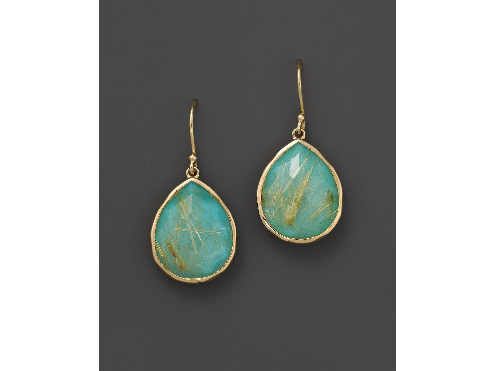 Ippolita 18k gold rock candy teardrop earrings in for Golden rutilated quartz jewelry