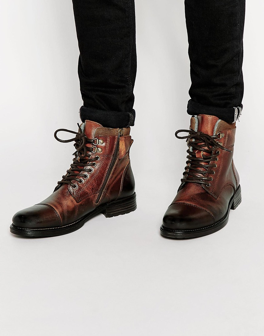 aldo giannola leather boots in brown for lyst