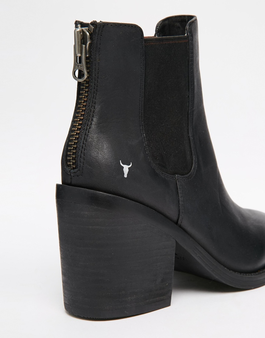 windsor smith mary black leather zip back heeled ankle boots in