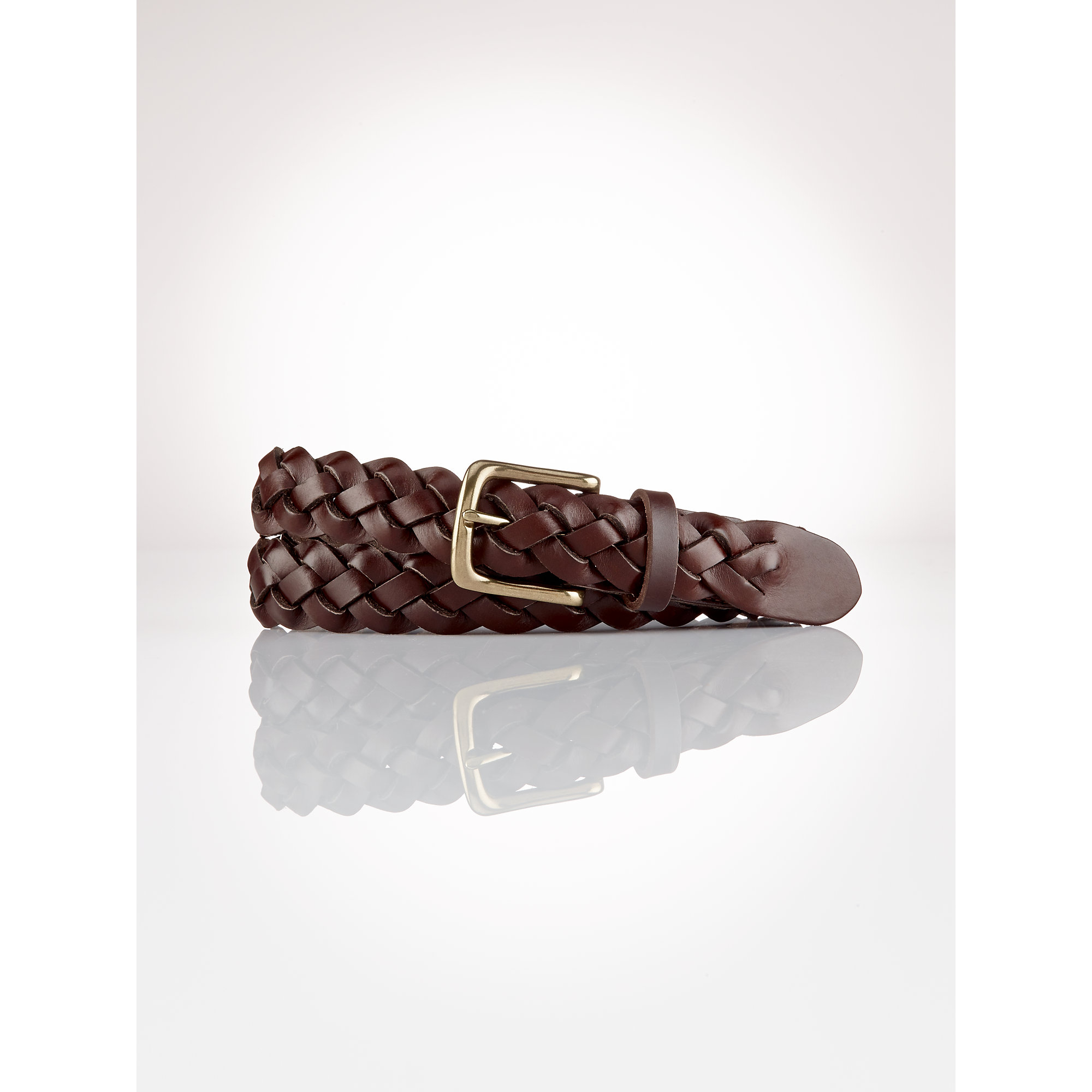 polo ralph braided leather belt in brown for