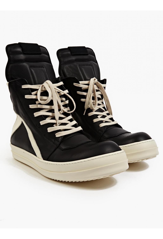 rick owens s black leather geobasket sneakers in black