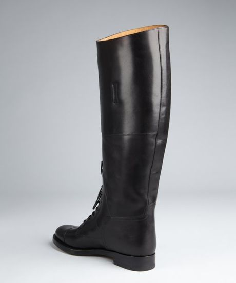Gucci Black Leather Laceup Tall Riding Boots In Black Lyst