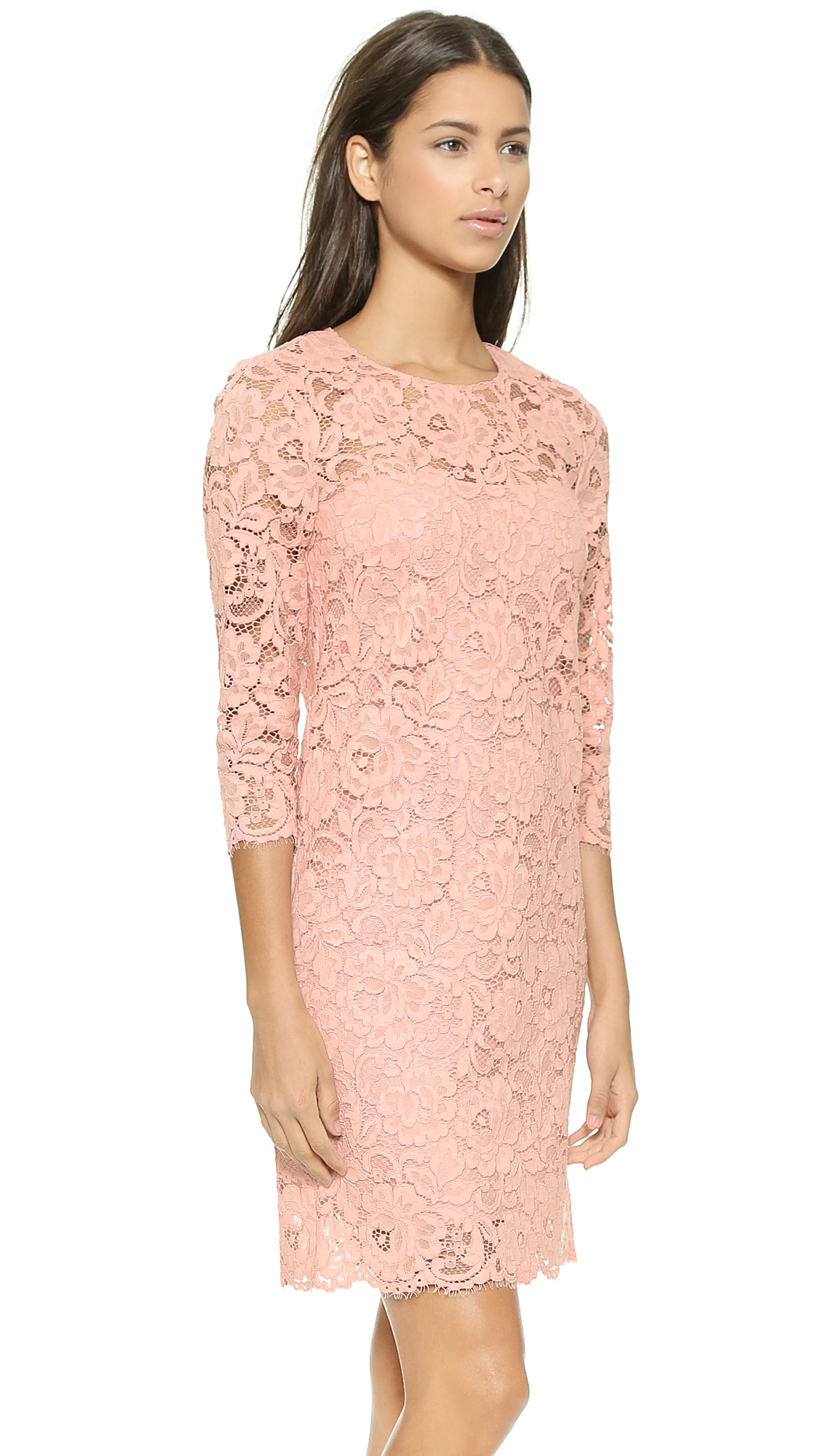 Dkny 3/4 Sleeve Lace Shift Dress - Blush in Pink | Lyst