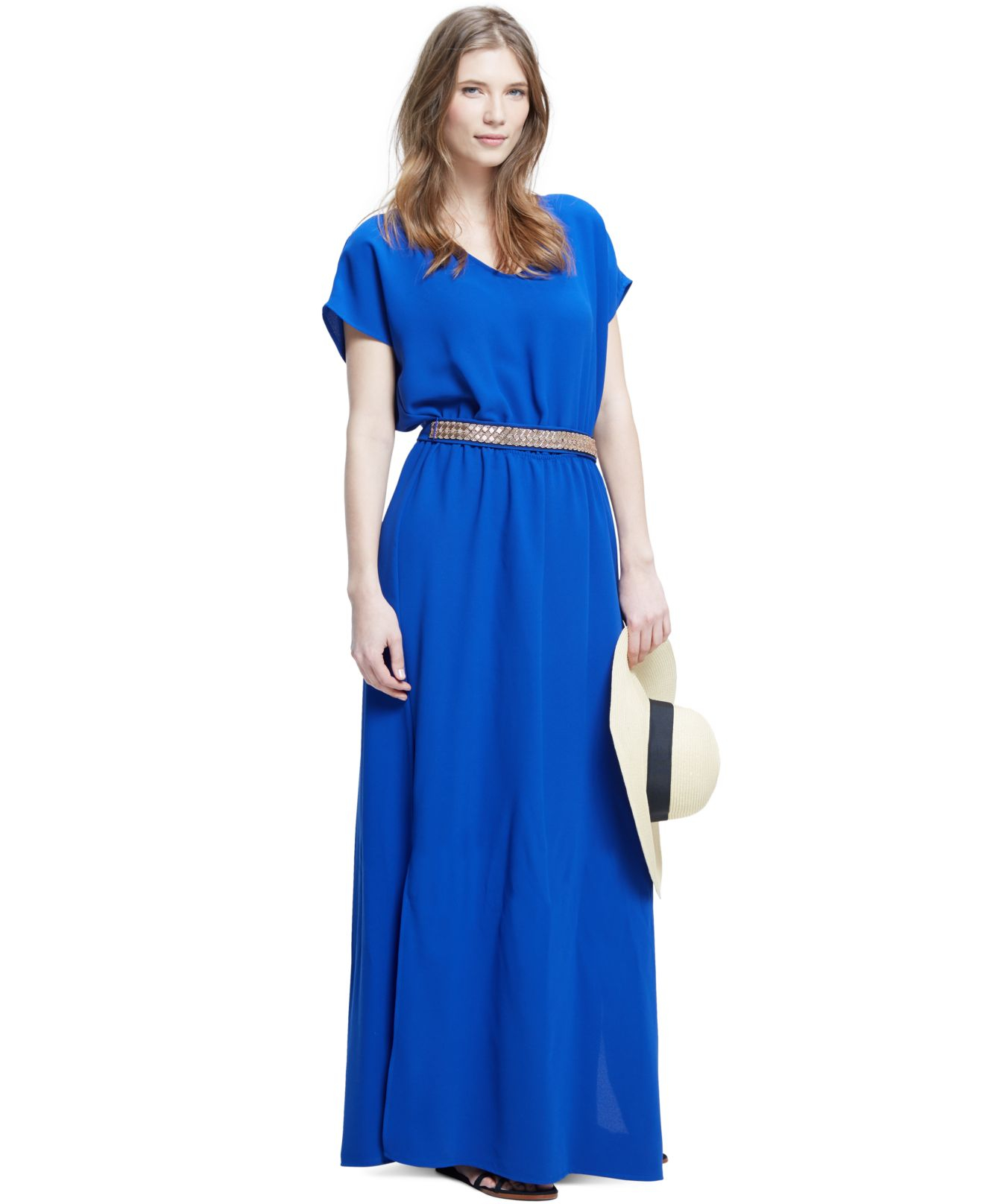 Lyst - Violeta by mango Plus Size Short-Sleeve Belted Maxi Dress ...