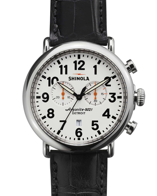 Lyst shinola 47mm runwell 2 eye chronograph watch in black for Argonite watches