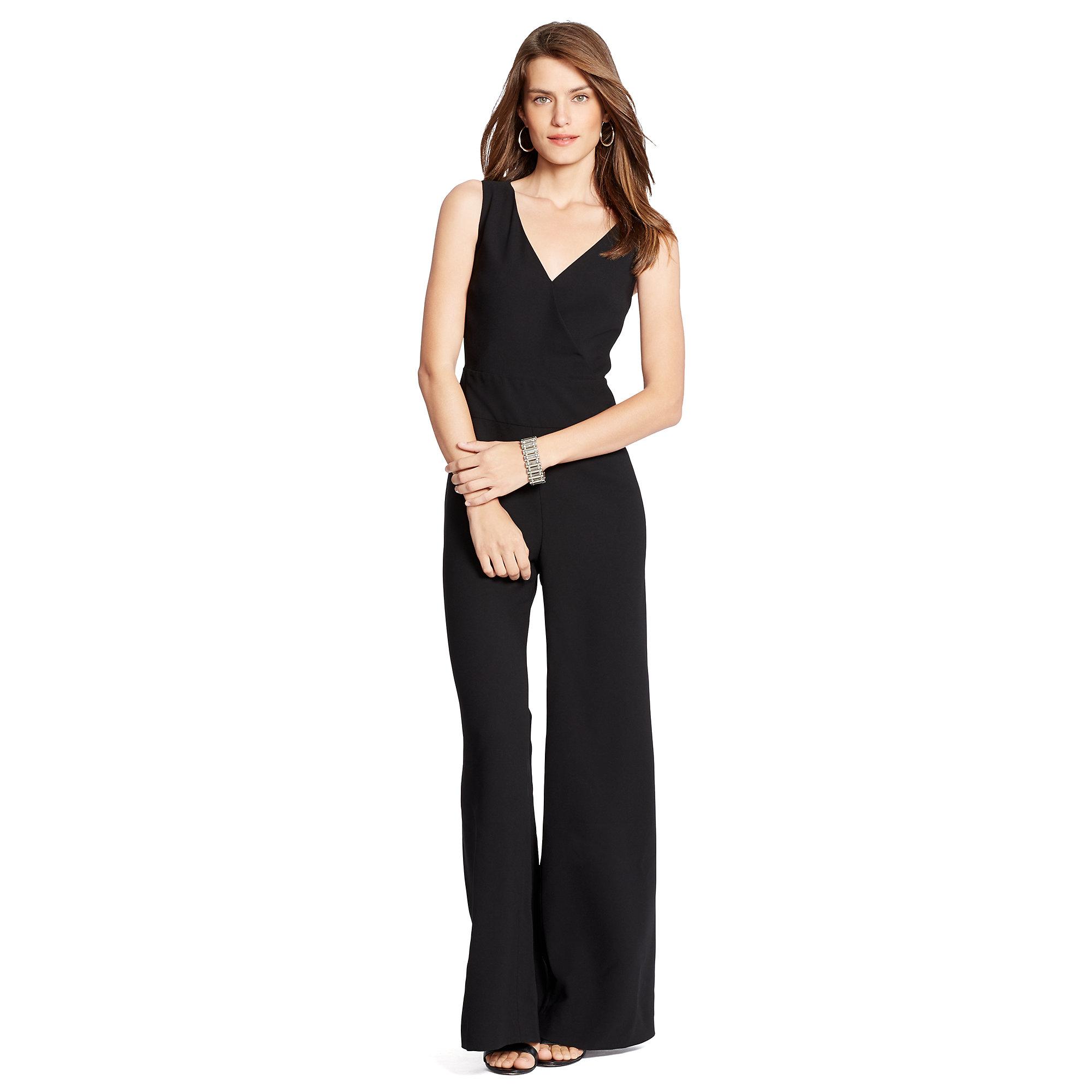 eb1074529e1 Lyst - Ralph Lauren Crepe Wide-leg Jumpsuit in Black