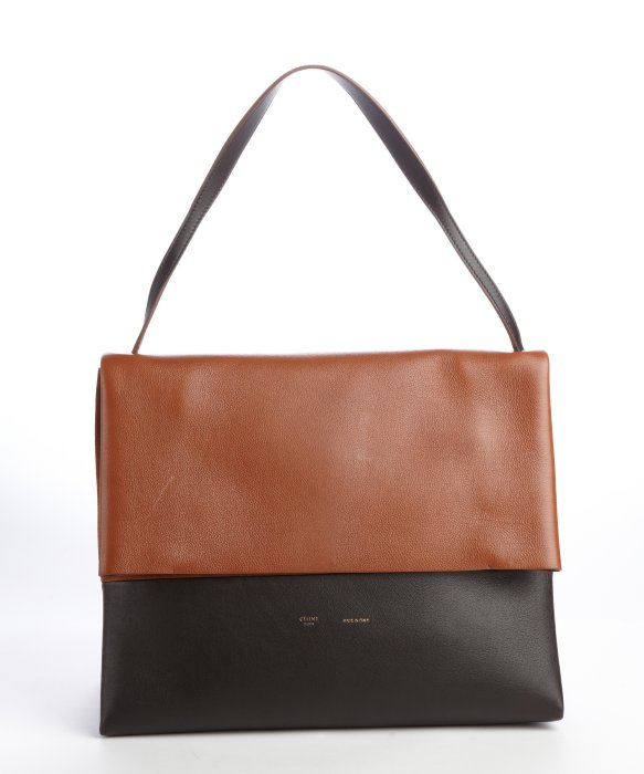 C¨¦line Caramel and Black Colorblocked Leather Shoulder Bag with ...