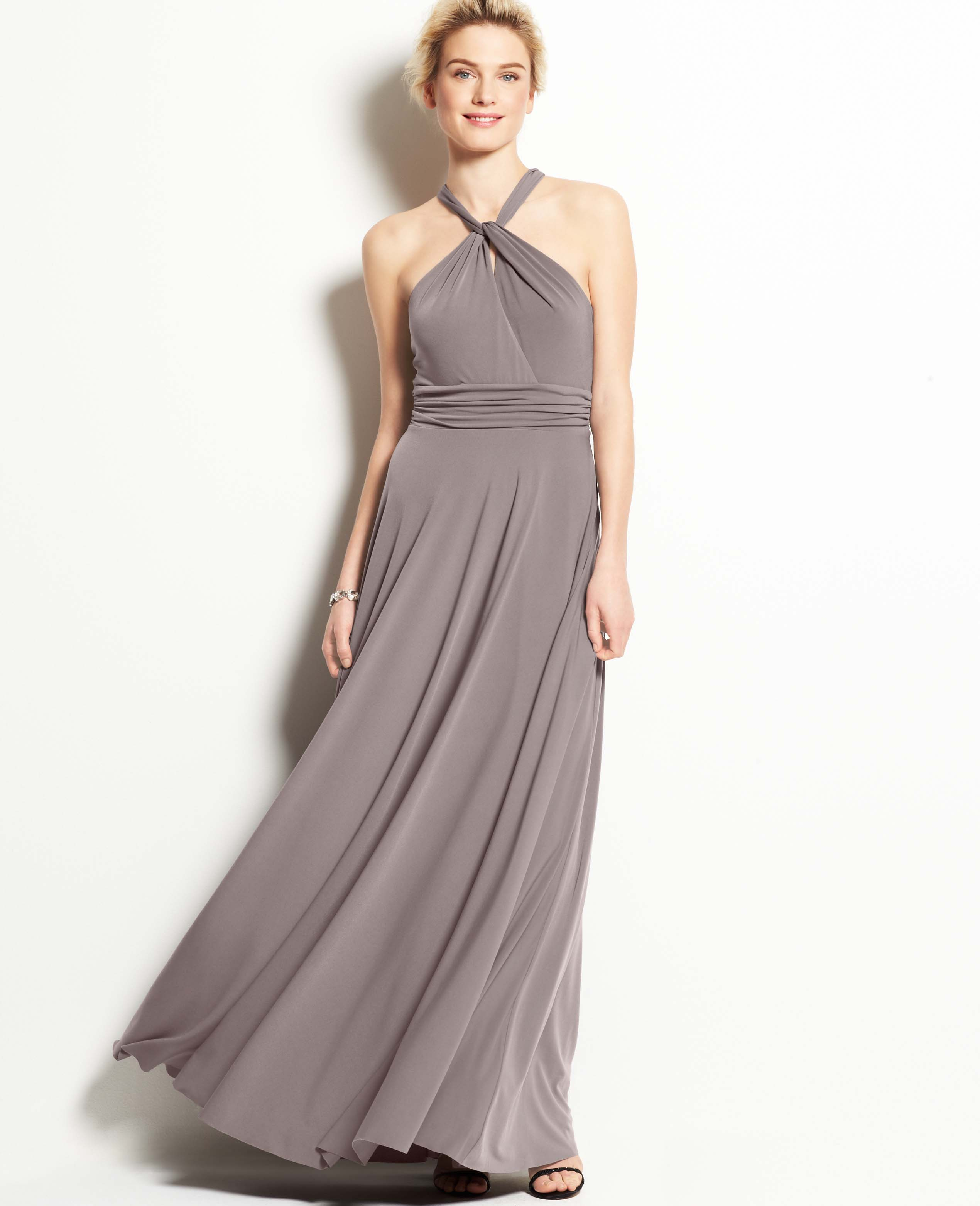Lyst - Ann Taylor Jersey Keyhole Halter Gown in Gray