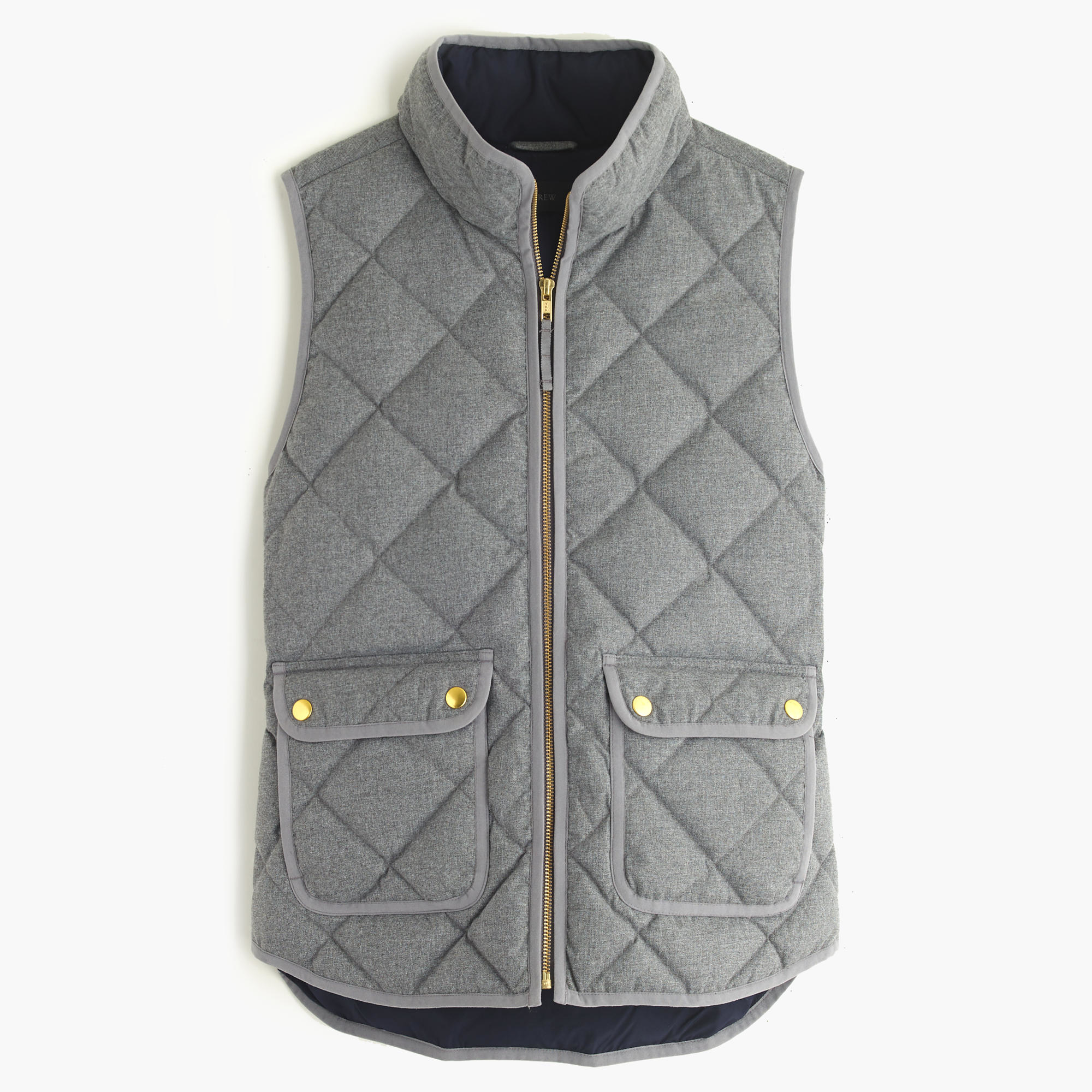 J Crew Petite Excursion Quilted Vest In Flannel In Gray