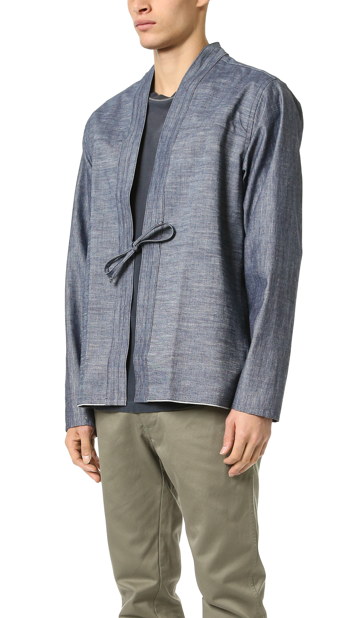 Naked  Famous Kimono Selvedge Chambray Shirt In Blue For -7635