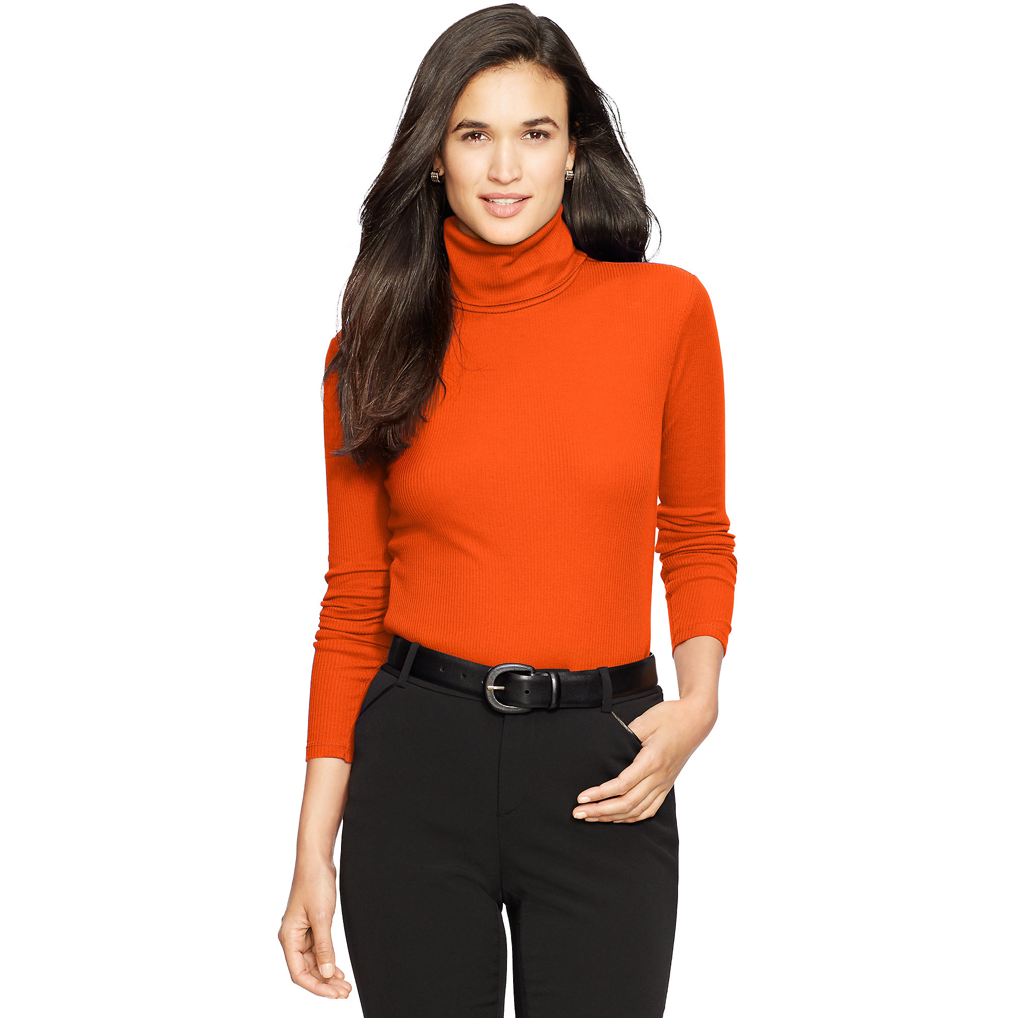 Ralph lauren Ribbed Cotton Turtleneck in Orange | Lyst