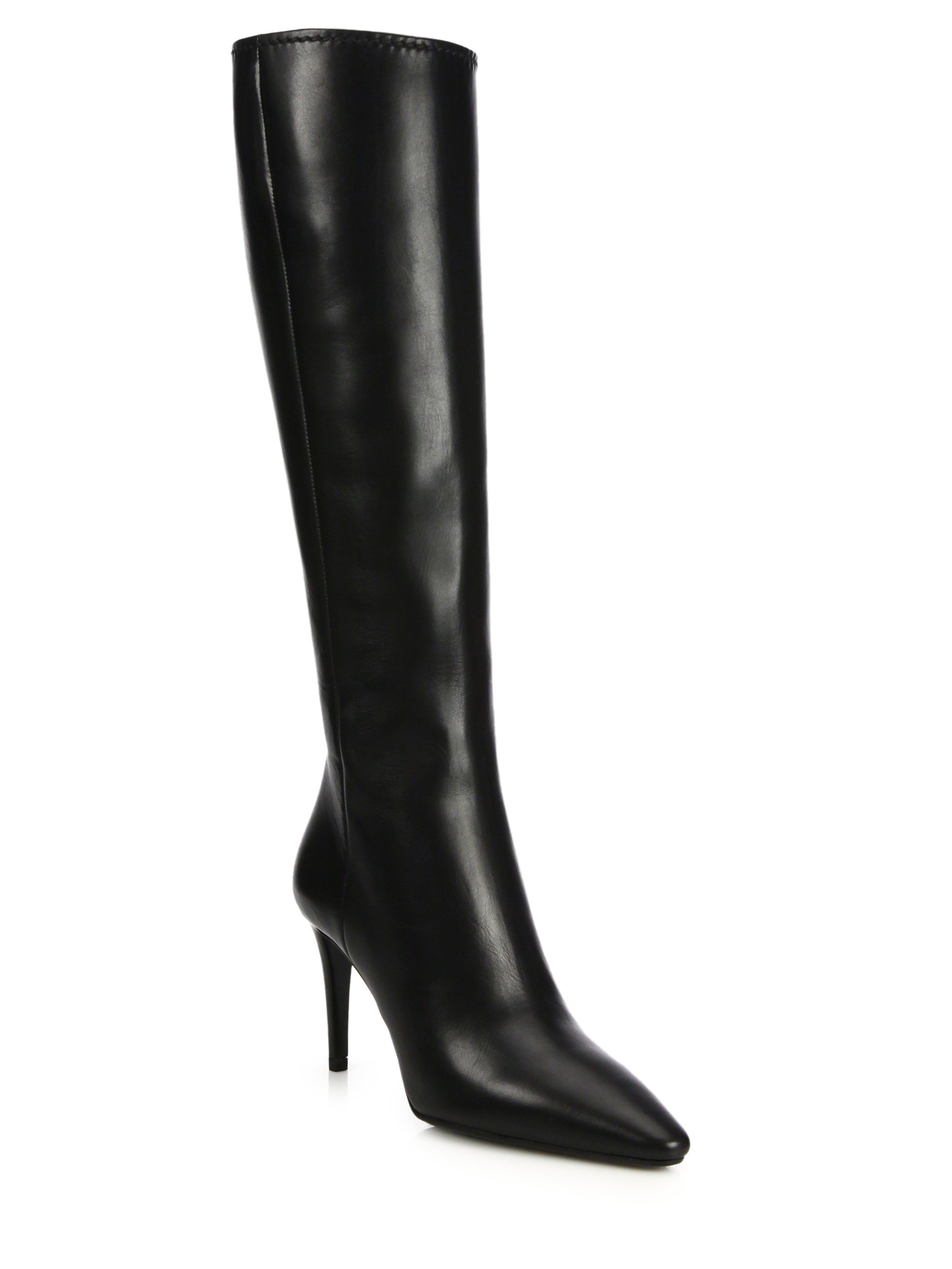 Lyst - Prada Leather Knee-High Point-Toe Boots In Black-4682