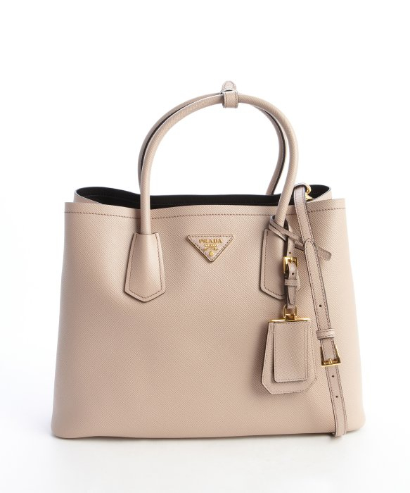 Prada Cameo Beige Saffiano Leather Logo Stamp Top Handle Tote in ...