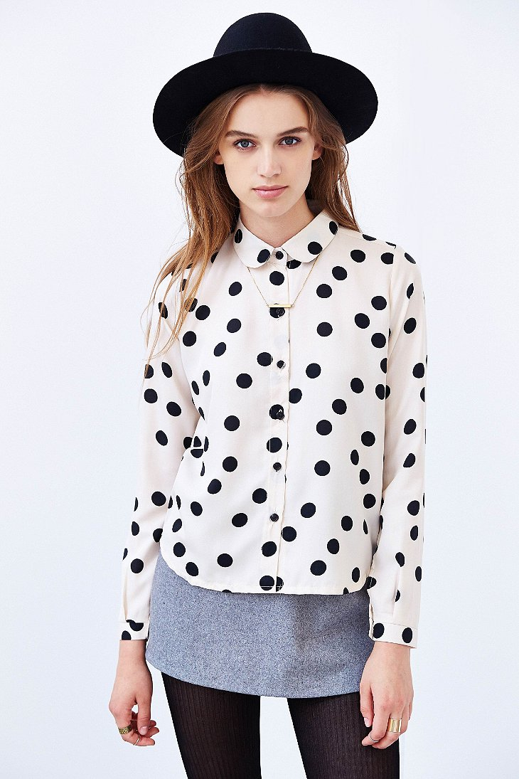 Compa a fant stica polka dot button down blouse in white for Button down polka dot shirt