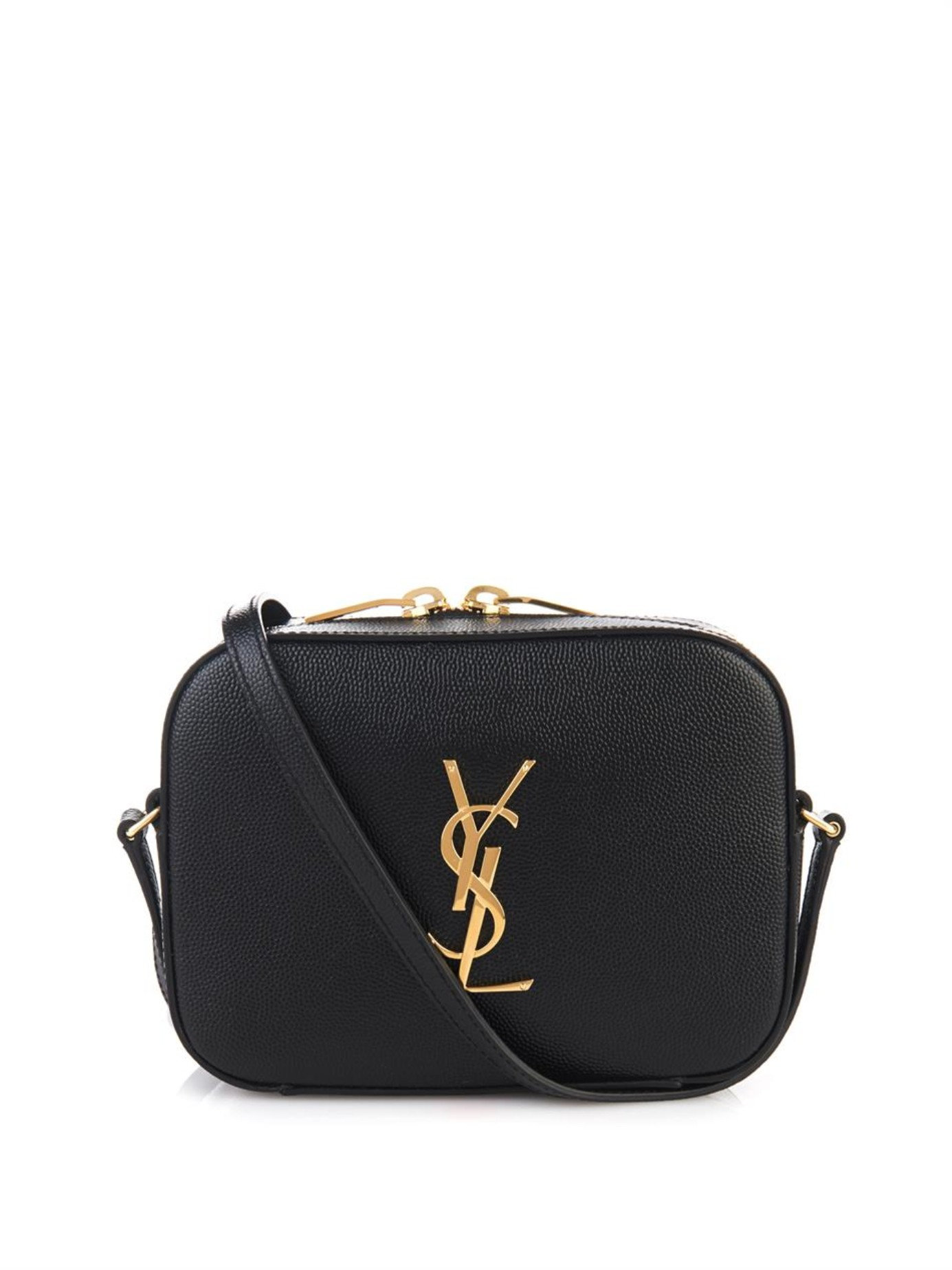 classic small monogram saint laurent camera bag in black grain de poudre textured leather. Black Bedroom Furniture Sets. Home Design Ideas