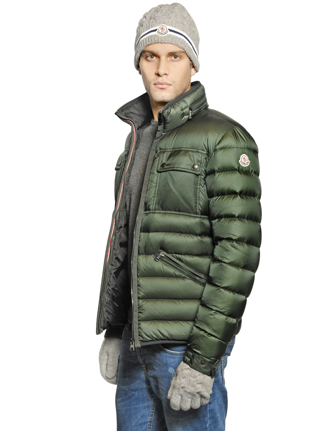 moncler green down jacket