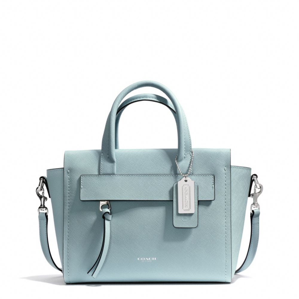 410be1a3f8 Lyst - COACH Bleecker Mini Riley Carryall in Saffiano Leather in Blue