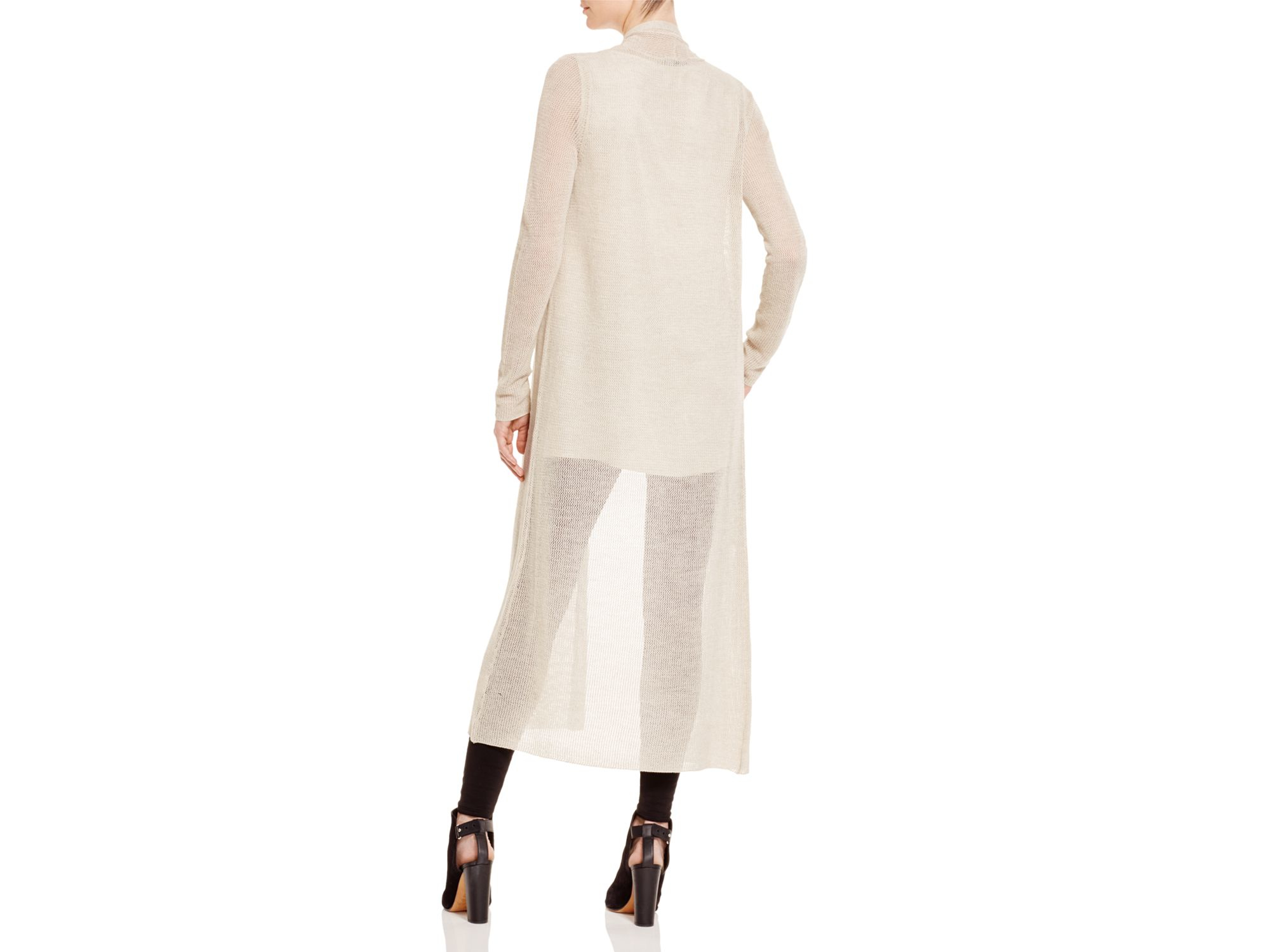 Eileen fisher Sheer Long Cardigan in Natural | Lyst