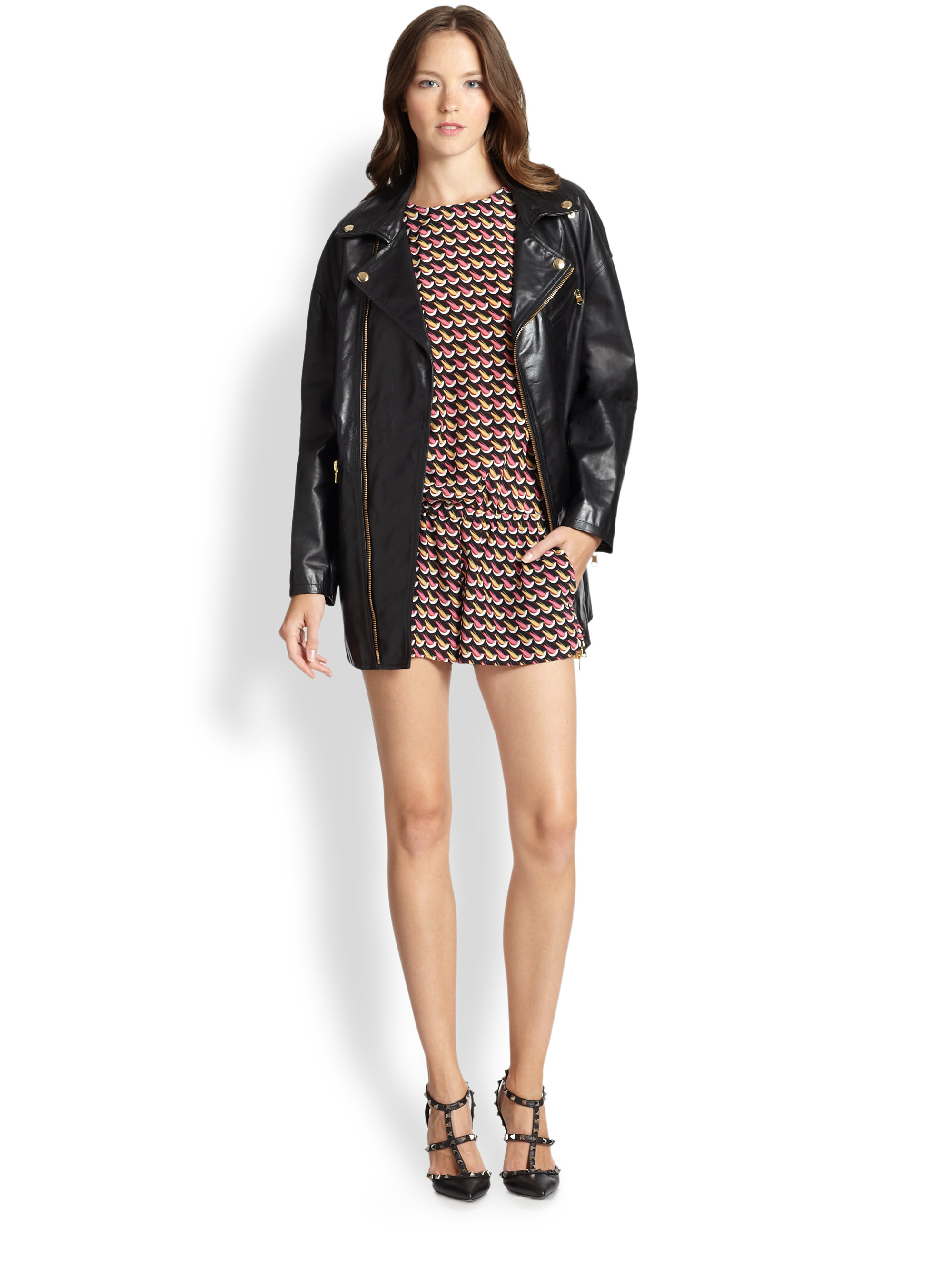 fe886525579 Lyst - RED Valentino Leather Long Moto Jacket in Black