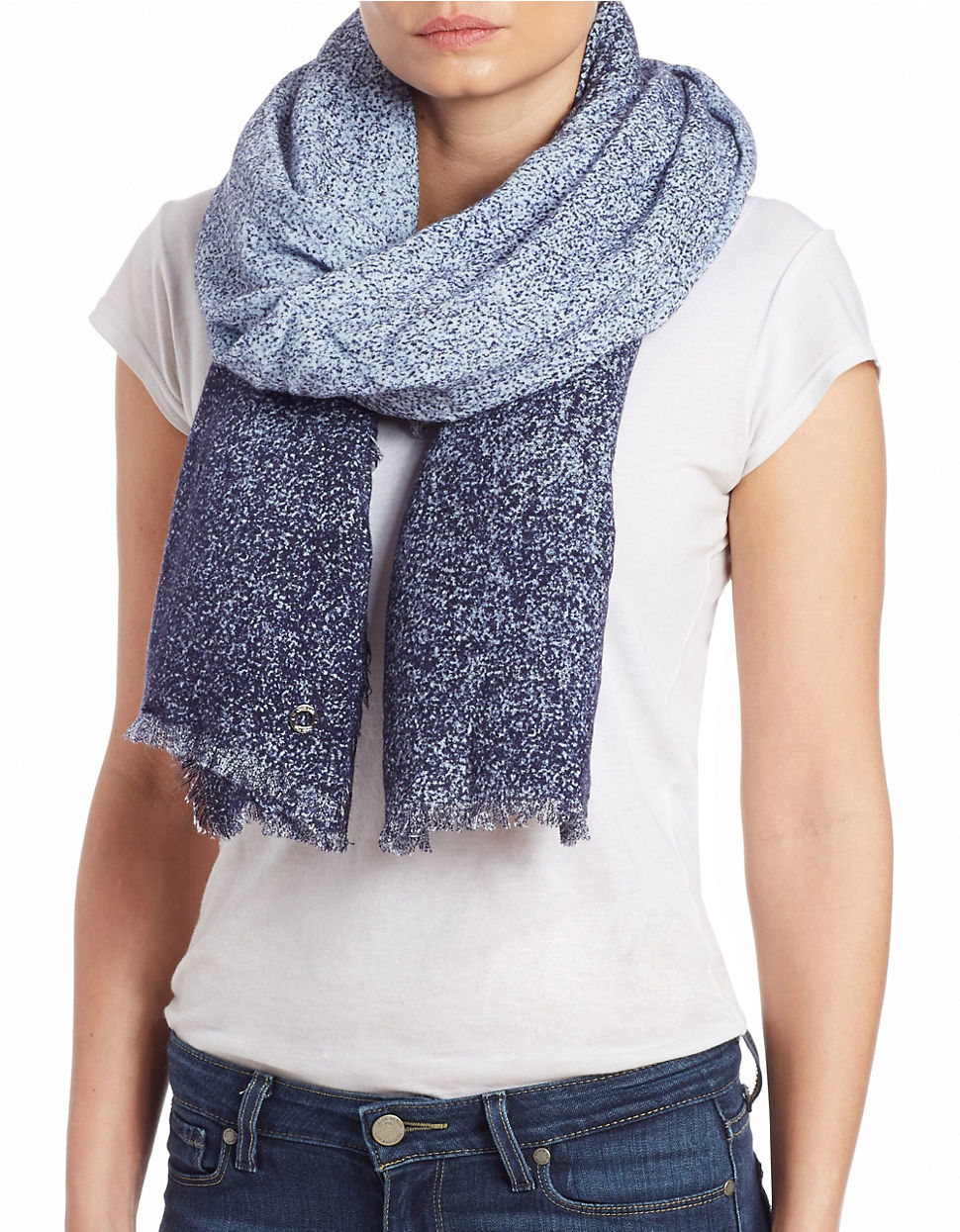 Lyst - Calvin Klein Distressed Ombre Scarf in Blue 1aeb08ae611
