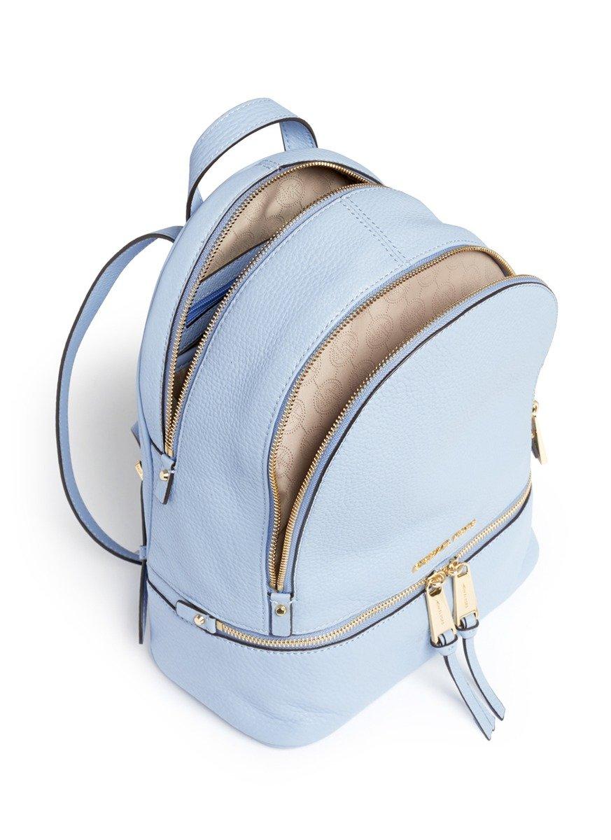 michael kors  u0026 39 rhea u0026 39  small 18k gold plated leather backpack in blue