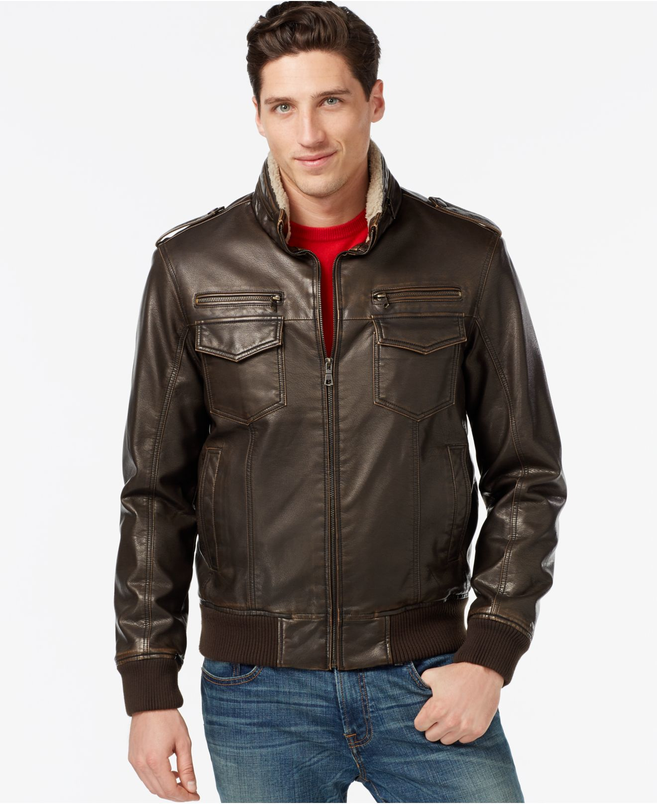 Tommy Hilfiger Men's Leather Faux Sherpa Fur Military Bomber ...