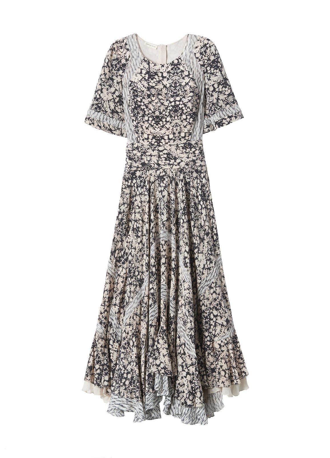 Lyst - Rebecca Taylor Short Sleeve Print Mix Dress in Gray