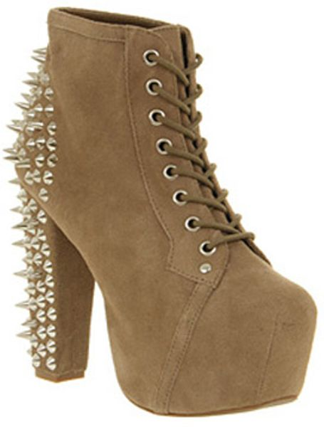 jeffrey cbell lita platform ankle boot spike taupe in