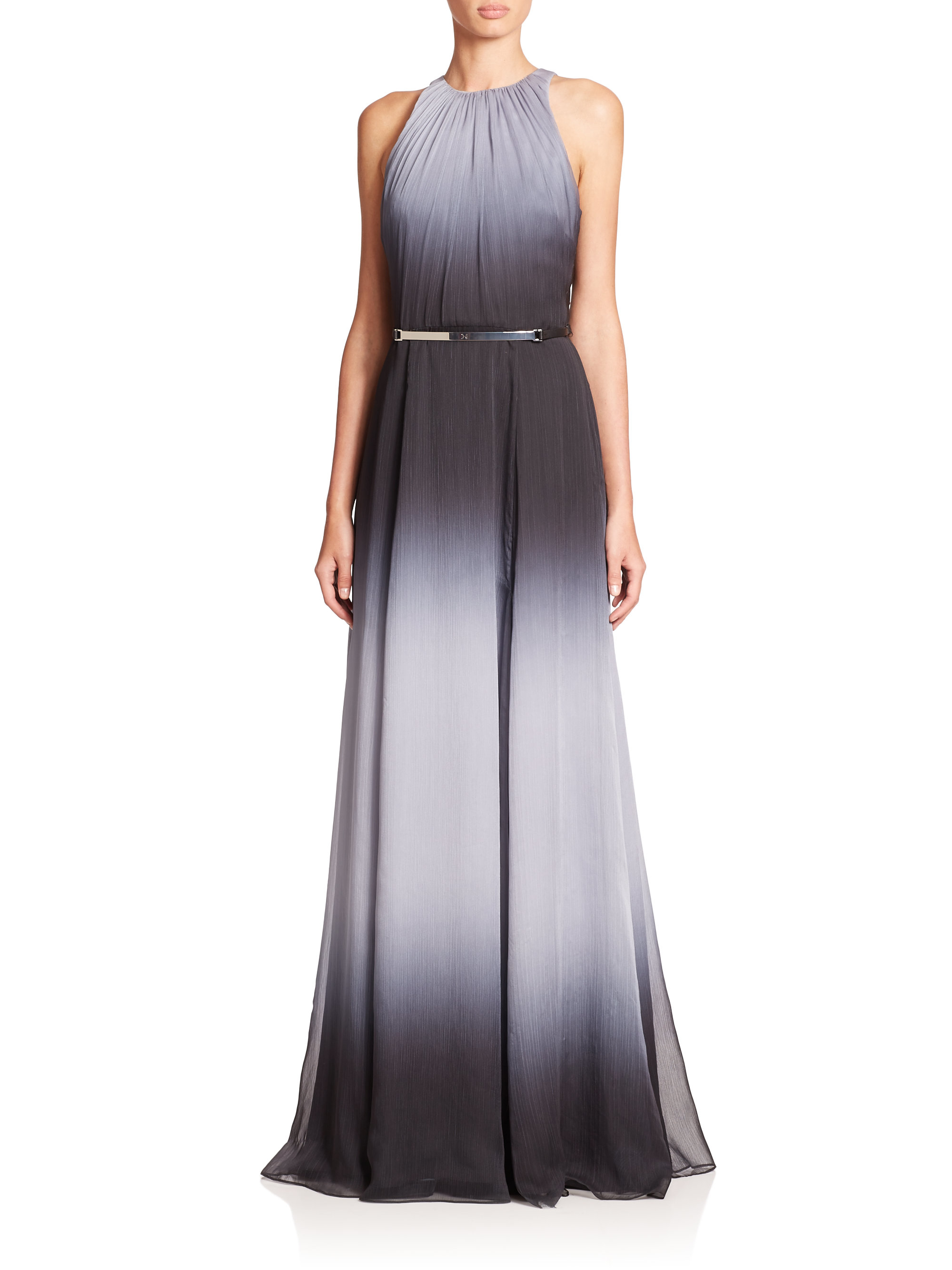 Lyst - Halston Belted Ombré Gown in Black