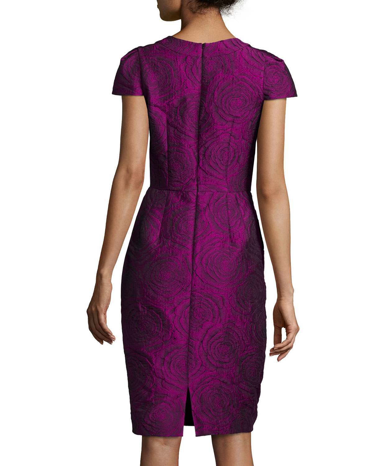 Carmen marc valvo Cap-Sleeve Metallic Cocktail Dress in Purple | Lyst
