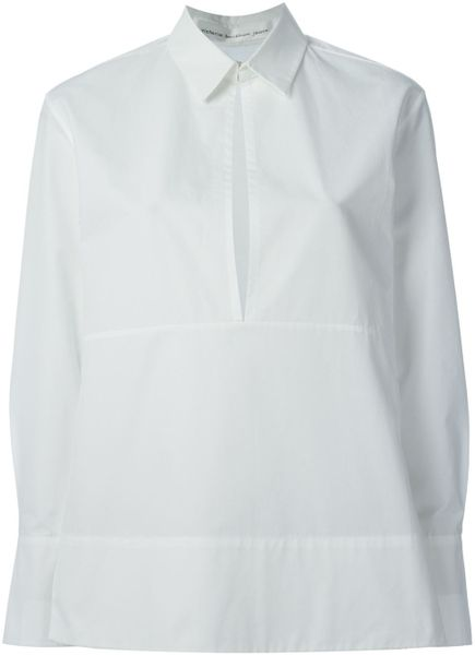 Victoria Beckham Open Front Shirt In White Lyst