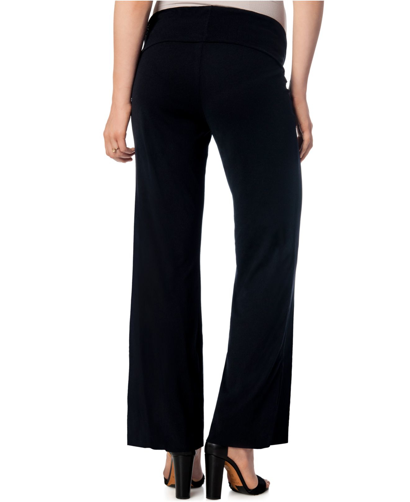 Motherhood Maternity's pants boast a wide-leg silhouette and the seamless support of a patented Secret Fit Belly. Maternity pants; Secret Fit Belly® waistband can be folded down on worn over the belly for additional support.